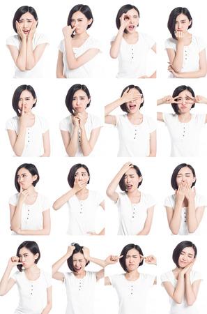 Collage von chinesischen Frau verschiedene Gesichtsausdrücke