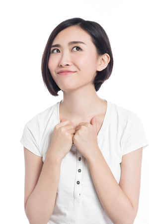 chinese woman facial expressions, white background Reklamní fotografie
