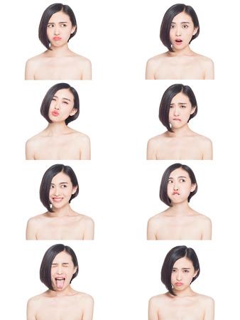 tratamientos faciales: collage de la mujer china diferentes expresiones faciales Foto de archivo