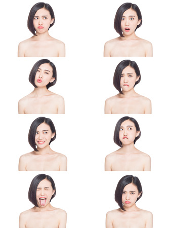 the difference: collage of chinese woman different facial expressions