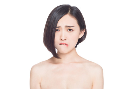 chinese woman facial expressions, white background Stock Photo