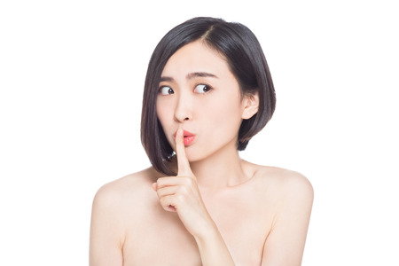 chinese woman: chinese woman facial expressions, white background Stock Photo