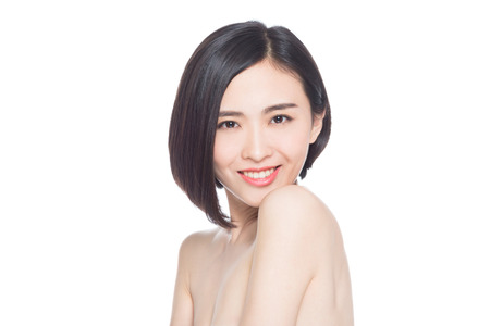 chinese woman facial expressions, white background Standard-Bild