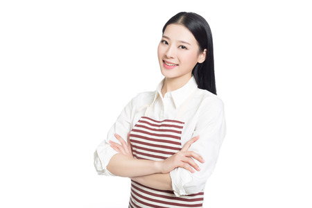 asian wife: beautiful cleaning girl standing in isolated on white background