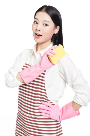 asian wife: beautiful cleaning girl standing in isolated on white background. asian chinese woman.