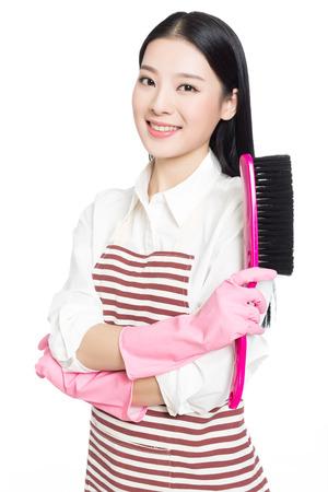 청소 청소와 아름 다운 여자의 사진, 흰색 배경