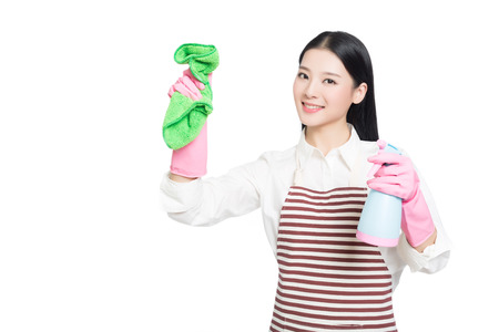 beautiful cleaning girl standing in isolated on white background. asian chinese woman.