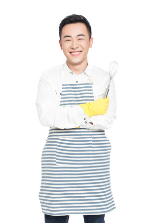 whisk: chinese male and whisk, white background
