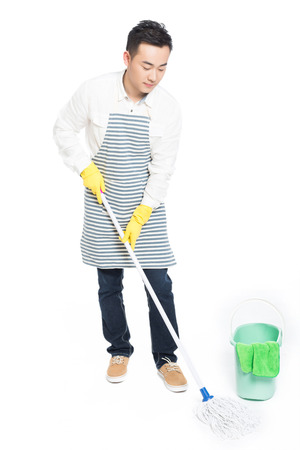 sweep: chinese male with cleaning sweep, white background