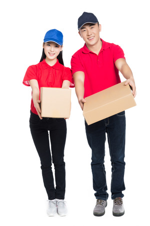 deliveryman: delivery mailman carrying cardboard box, white background.