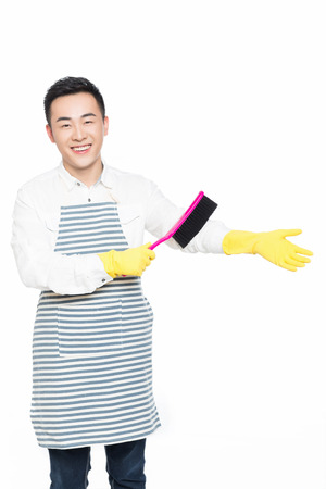 sweep: picture of male with cleaning sweep, white background