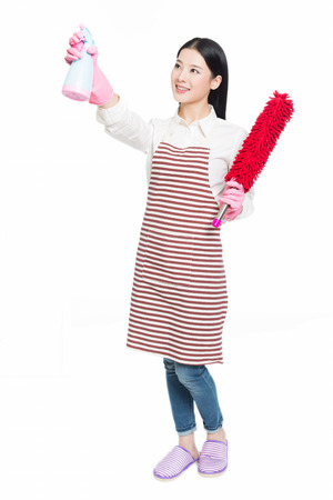 bright housekeeping: picture of beautiful woman with cleaning sweep, white background Stock Photo