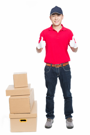 deliveryman: delivery man carrying cardboard box, white background.