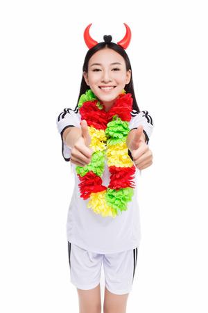 adult cheerleader: happy cheerleader on white background