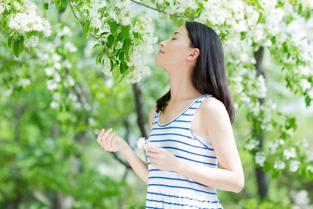 꽃의 향기를 냄새 공원에서 소녀