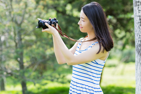 asian natural: chinese girl taking photo with camera