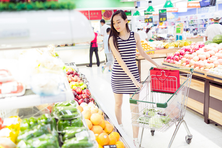 chinese girl in the supermarket