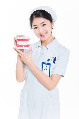 china beautiful young female nurse standing with dental model