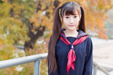 beautiful chinese female students in school uniforms