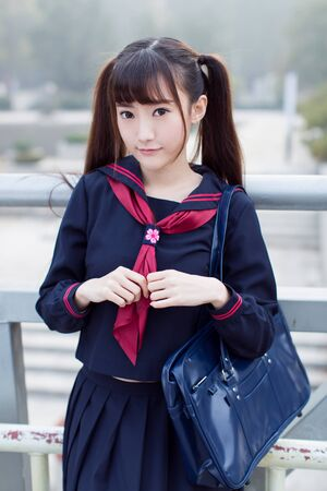 beautiful chinese female students in school uniforms Standard-Bild