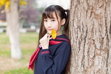 beautiful chinese female students in school uniform