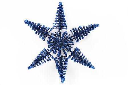 青いスノーフレーク休日の装飾 写真素材