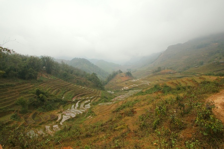 sapa: panorama view of mountains layer & terraces, Sapa, Vietnam