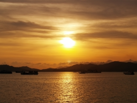 Sunset view from Kuah Town Jetty, Langkawi photo