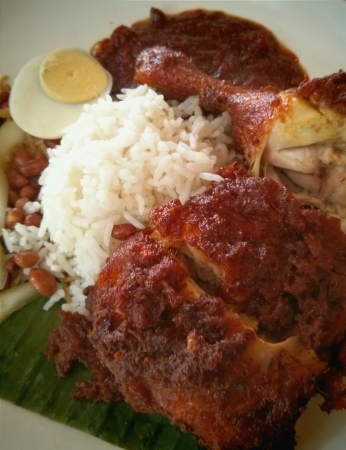 goreng: Close Up Nasi lemak ayam goreng Stock Photo