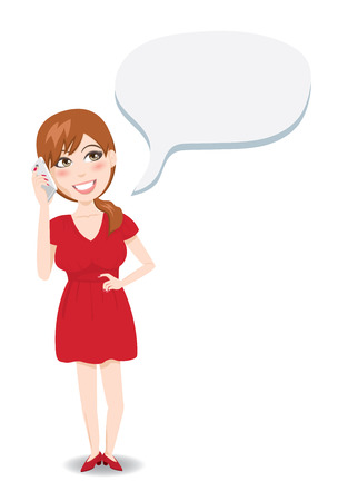 Woman Talking on Phone Illustration