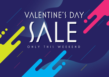 Valentines Day Sale special offer banner template. Shop now. Illustration