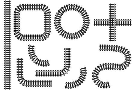 Chemin de fer en vecteur. Droit, virages, jonction et cercle. Il est isolé sur fond blanc.