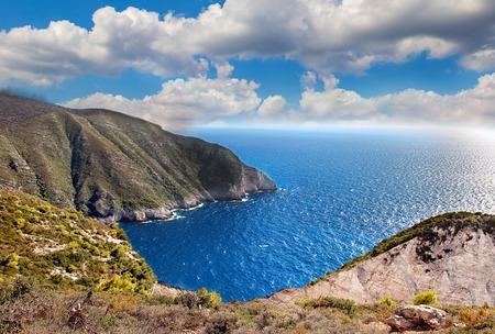 Beautiful view of the coast of Navagio on the Greek island of Zakynthos