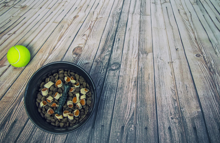 Dog bowl with food and tennis ball on a wooden floor in retro style. Imagens