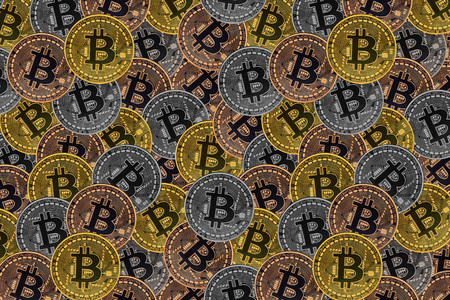 Many bronze coins with Bitcoin sign, It is a cryptocurrency background. Bitcoin is an internet payment network and also cryptocurrency in this network. Stock fotó