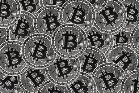 Many silver coins with Bitcoin sign, It is a cryptocurrency background. Bitcoin is an internet payment network and also cryptocurrency in this network.