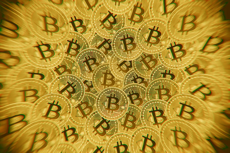 Doeble exposure of Many gold coins with Bitcoin sign, It is a cryptocurrency background. Bitcoin is an internet payment network and also cryptocurrency in this network.