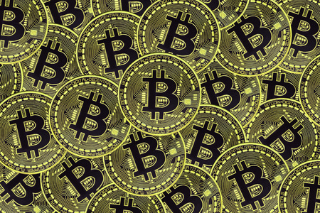 Many gold coins with Bitcoin sign, It is a cryptocurrency background. Bitcoin is an internet payment network and also cryptocurrency in this network.