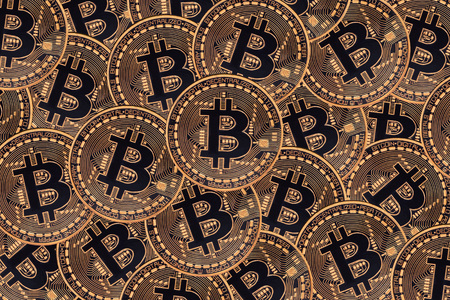 Many bronze coins with Bitcoin sign, It is a cryptocurrency background. Bitcoin is an internet payment network and also cryptocurrency in this network. Stock Photo