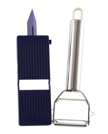 Set of steel and plastic potato cleaner on white background. You can also scratch vegetables and peel fruits. It also has the tip to cut the wrong parts.
