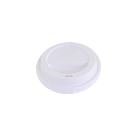 White plastic lid for paper cup. It's a cup for various drinks like coffee, time and water. The lid has a drinking hole.