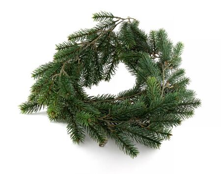 Wreath from Green pine wreath isolated on a white background . It is the basis for making a beautiful decorative wreath
