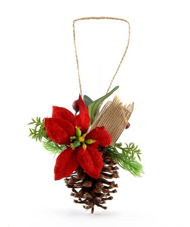 Christmas ornament with pine cone and branch. It also has a red star. It is a natural Xmas ornament.