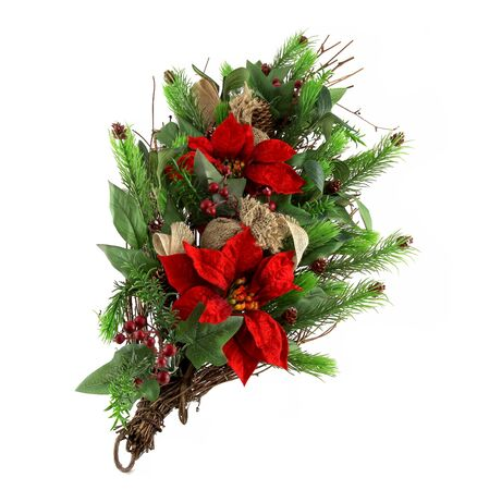 Christmas ornament with pine cone, Xmas Poinsettia and branch isolated on white background. It also has a red star. It is a natural Christian ornament.