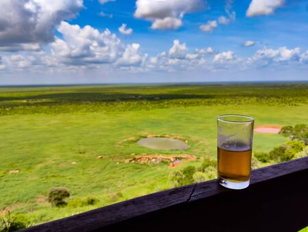 A glass of beer stands on a wooden fence. In the background is a wonderful view of Tsavo East National Park in Kenya. Imagens