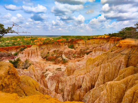View of the Hells kitchen - geological formation. Marafa, Malindi region, Kenya. It is close to the Somali border. It is sunny day. Imagens