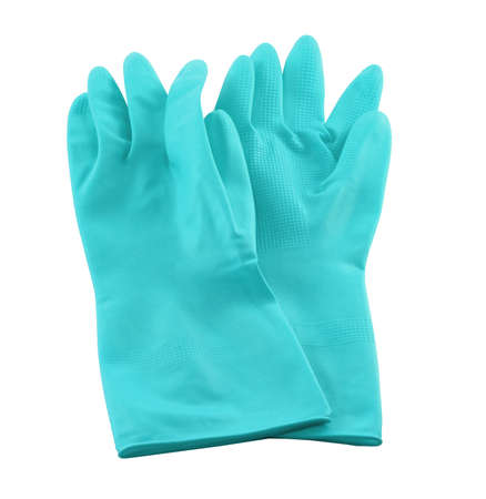 Blue rubber gloves for cleaning isolated on white background. It is used for hand protection. It's for houseworks
