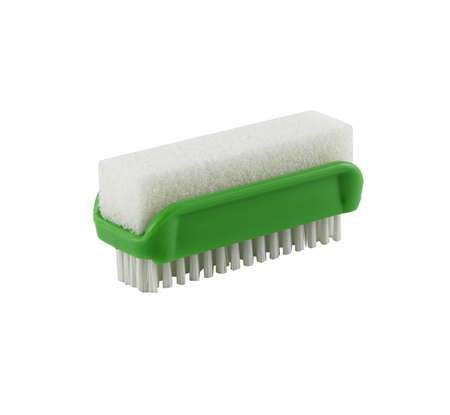 Small green brush with a sponge isolated background. It's for cleaning. It's for housework.
