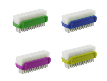 Set of Small brushes with a sponge isolated background. The brushes are green, yellow, blue and purple. It's for cleaning. It's for housework.