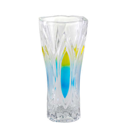 Glass vase with colored glass isolated on white background. It's for flowers. It's a design piece. Beautiful.